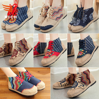 MLS11088 2017 fashion national wind grass boots canvas shoes
