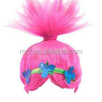 MCH-2293 New fashion cheap Synthetic Cosplay amaranth Wig trolls wig with flower headband for kids