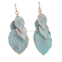 Free Shipping New Trendy Blue Enamel Drop Leaf Shape Earrings