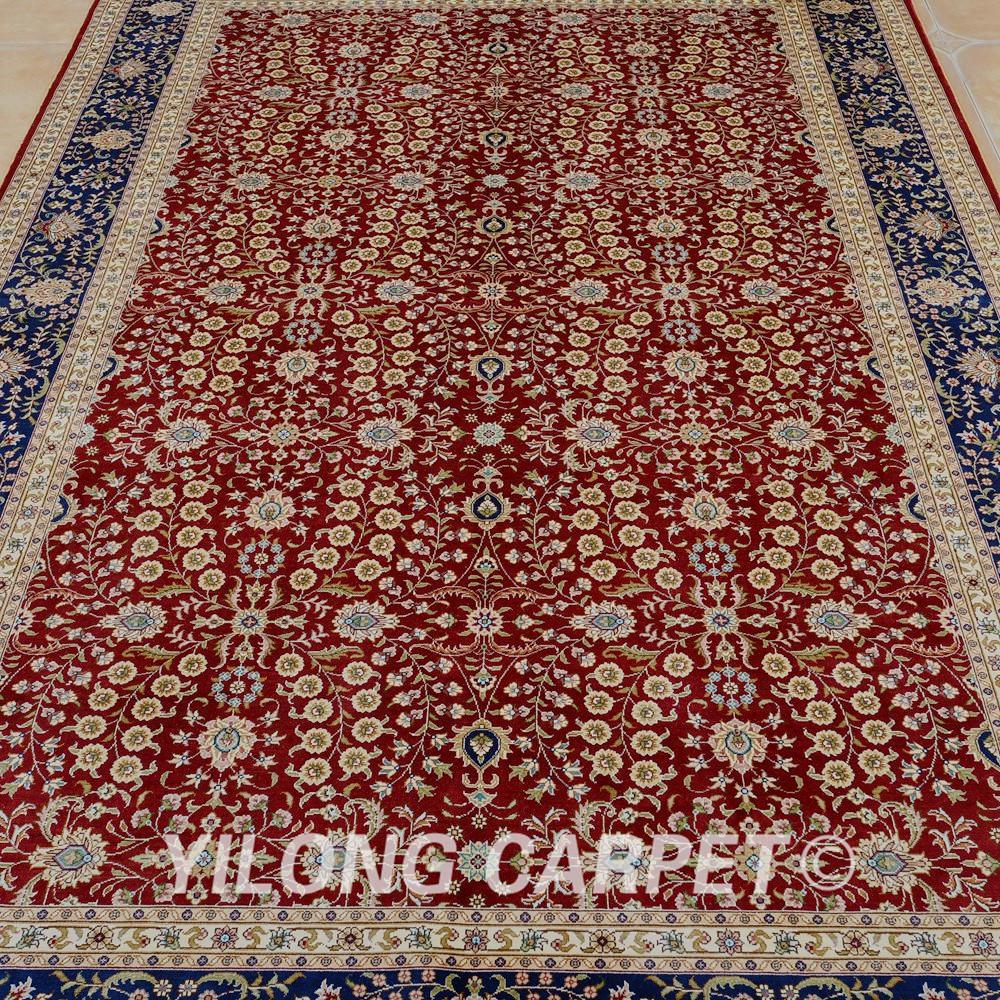 Yilong 5 39 x8 turqu a alfombra de seda rojo todo mano al por - Alfombras orientales ...