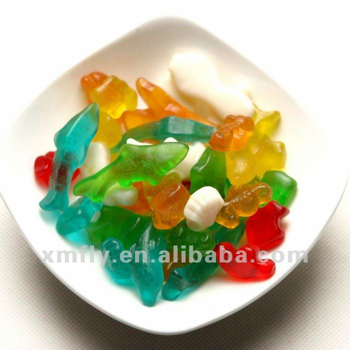 Sugar free gummy candy halal sweets fish shaped gelatin jelly
