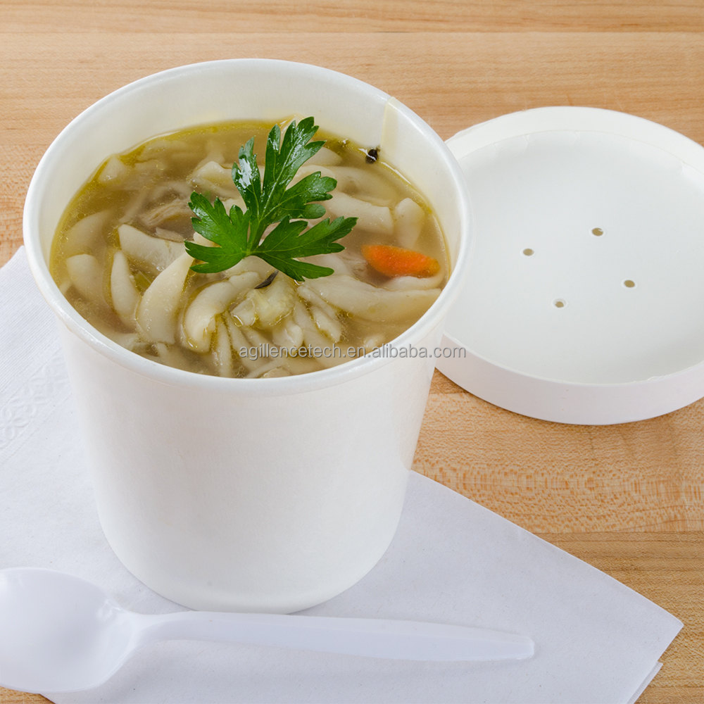 2015 High Quality White Food Grade Waterproof Paper Cup Disposable Soup Cup Noodle Bowl With Lid