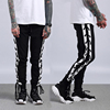 Wholesale Elastic Waistband Blank Black Track Jogger Pants Men With Binding Drawstring
