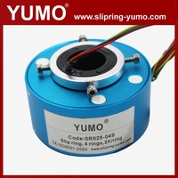 SR025 4 wires rotating connector carbon brush holder hole through bore slip ring pneumatic rotary coupling
