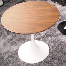 Eero Saarinen Style Tulip Round Wood Top White Dining Table