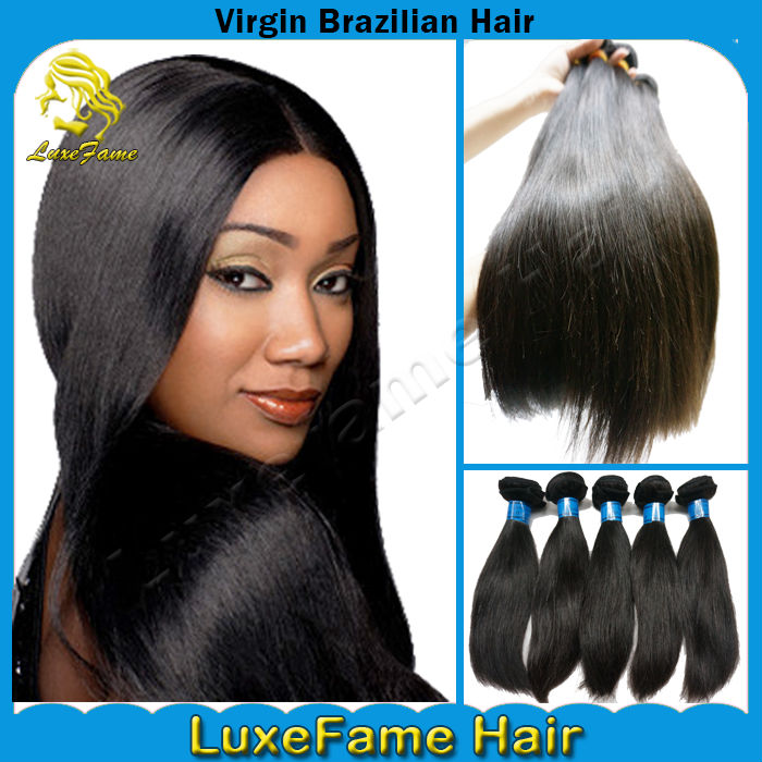 Factory outlet price 100g/pc 5A silky virgin remy brazilian straight hair extensions
