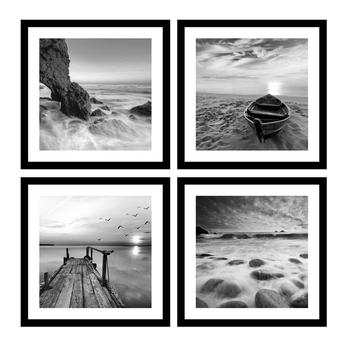 4 Panels Set Framed Canvas Print For Seascape Beach And Boat Sunrise Scenery Black And White Giclee Canvas Print Wall Art