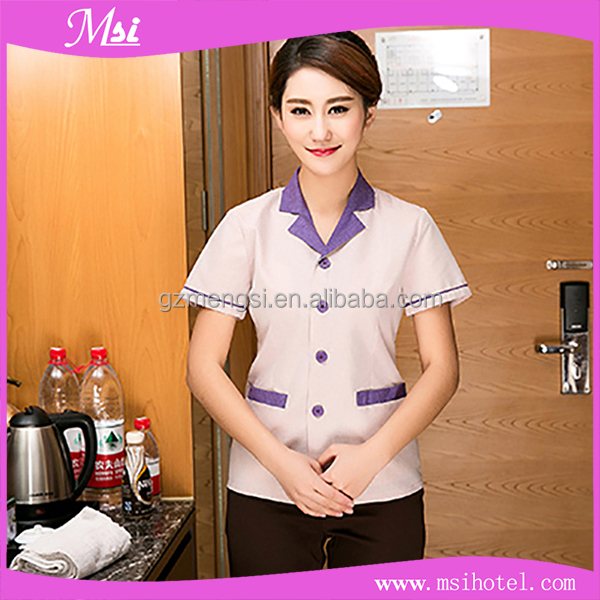 Fashionable women cleaning staff uniform for hotel