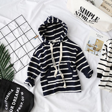 Hu Sunshine 2-8 years 2018 New Wholesale Full Sleeves Stripe Sweatshirts Boys Girls Hoodies Baby Clothes free shipping