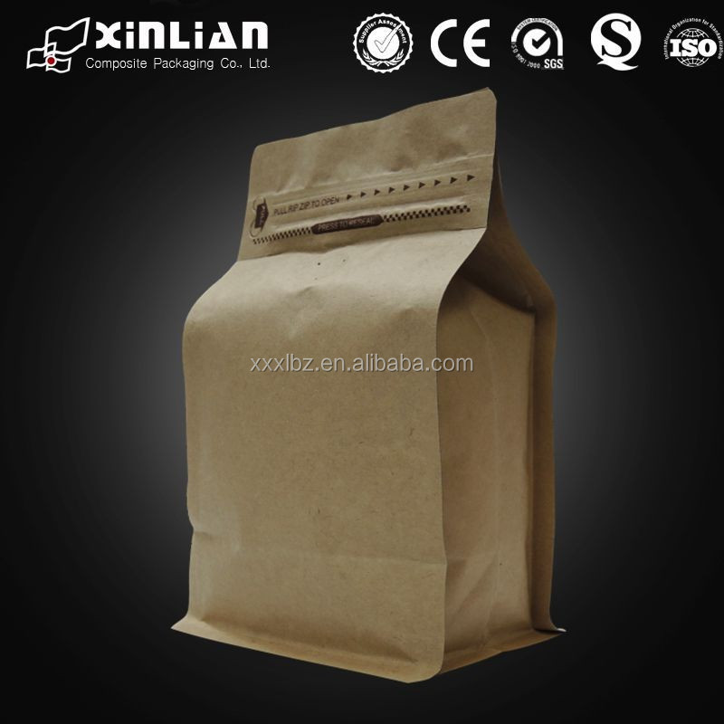 kraft paper ground coffee packaging bag with ziplock