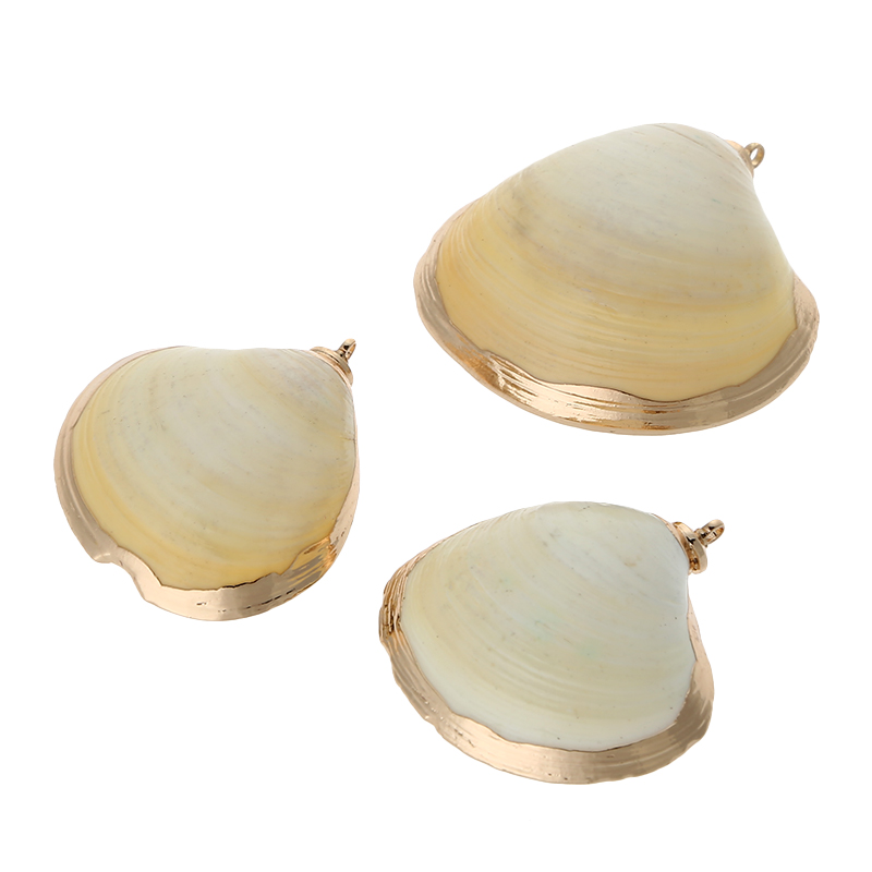 Fashion Beach Jewelry, Natural Sea Shell Pendant Beads Gold Plated Pendant Charms For DIY Crafts