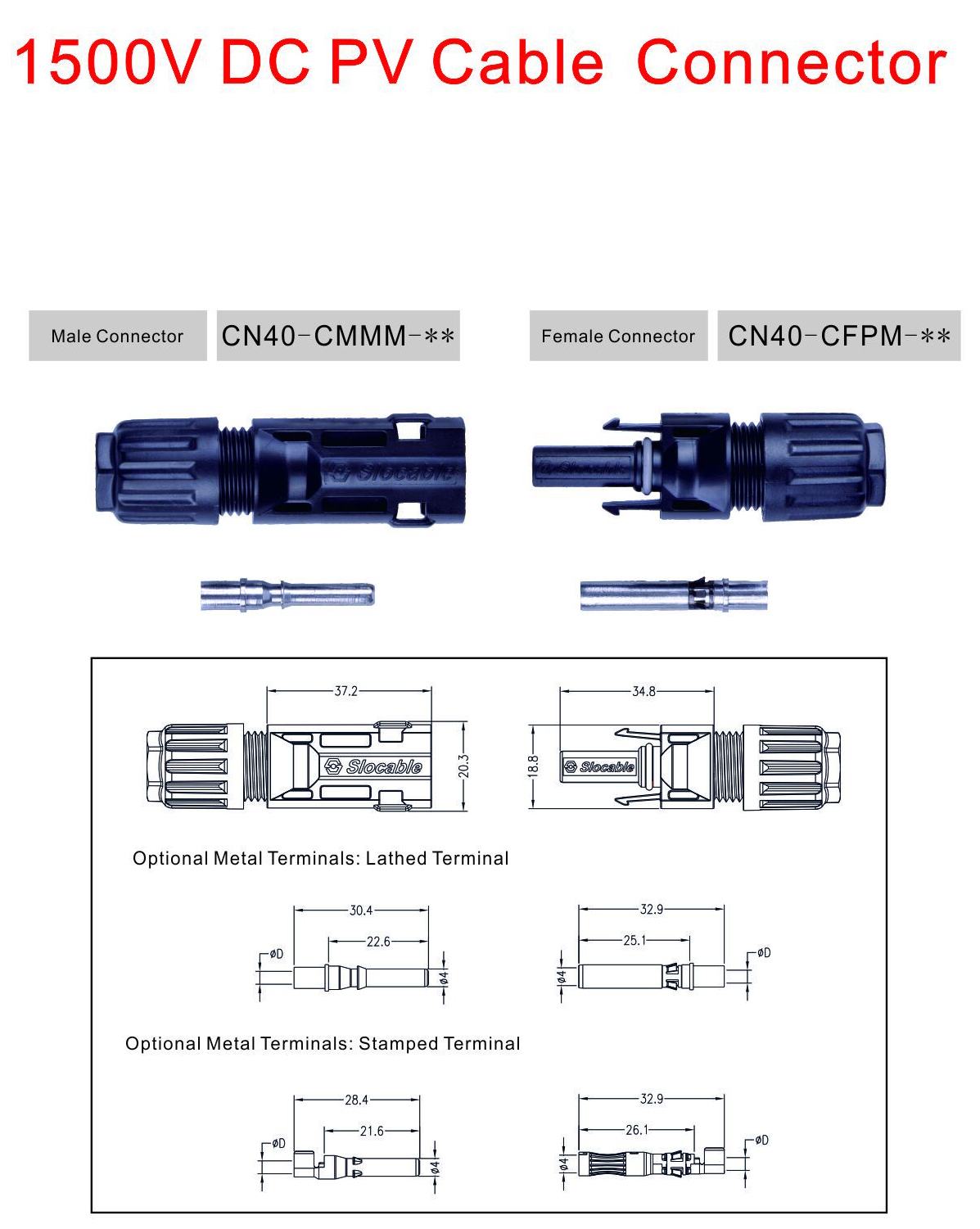 China CN40 2.5mm2, 4mm2 and 6mm2 Cable Solar Connector