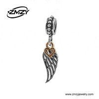 New Design Vintage Wing Pendant with Gold Plated Heart Charms Diy Metal Dangle Beads Pendant Fits Charm Bracelet
