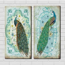 Canvas Art Prints 2 Piece Gorgeous Peacock Dafen Painting on Canvas HD Digital Printing Oil Painting Modern Wall Art