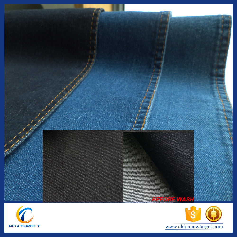 10oz SATIN 160cm dark indigo stretch denim fabric