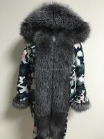 Camouflage Winter Parka Jacket Down Feather Fashion Wear Fox Fur Collar Cuff Trimming