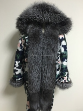 Camouflage Winter Parka Jacket Down Feather Fashion Wear Fox Fur Collar Cuff Trimming