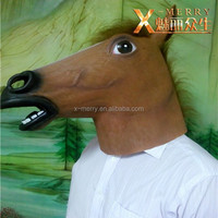 X-MERRY Horse Head Mask Latex Animal Costume Prop Gangnam Style Toys Party Halloween Mask