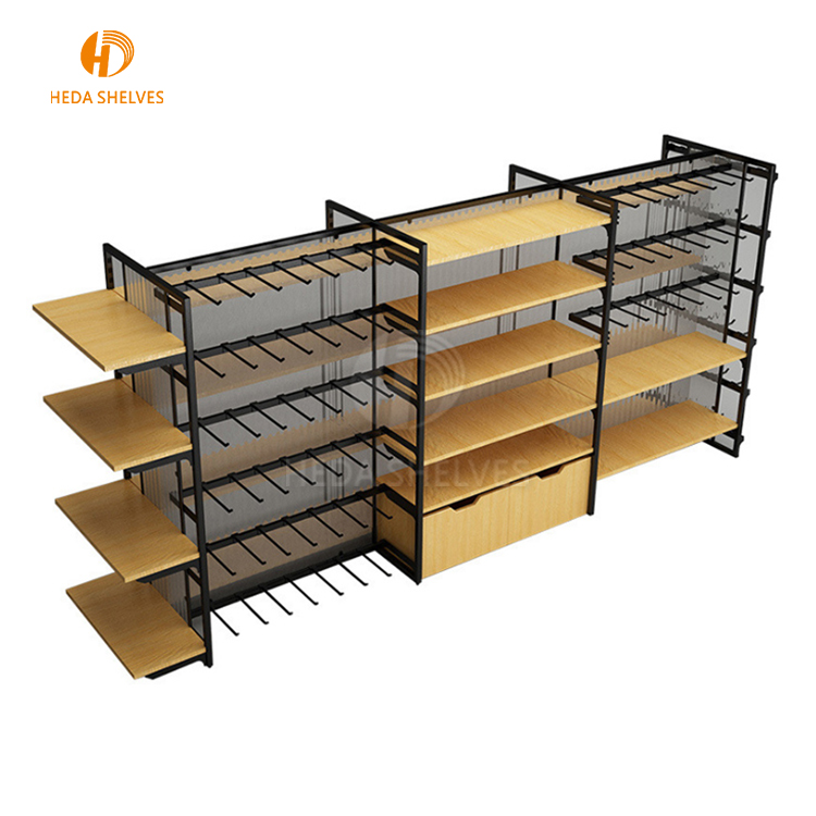 Customized Wooden Supermarket Gondola Display Shelf/Storage Rack For <strong>Retail</strong>