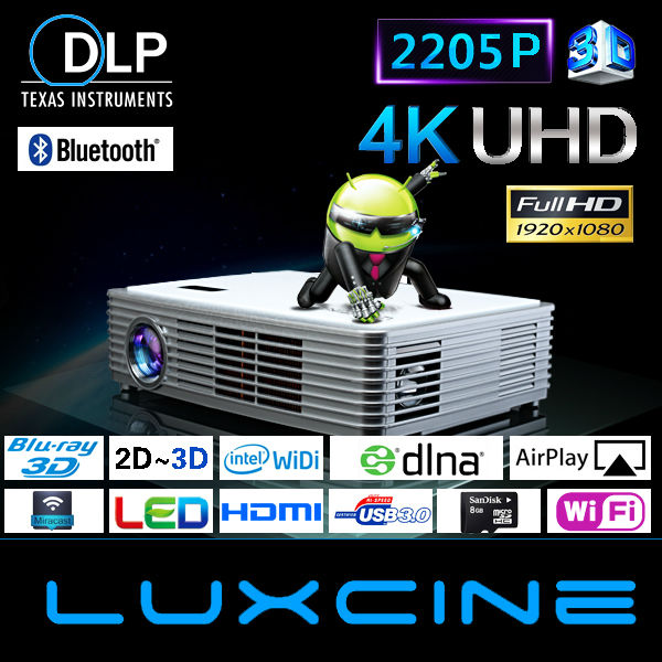 Hot seller !!! Z3000 2205P Android smart Blu-ray 3d video projector 10000 lumen