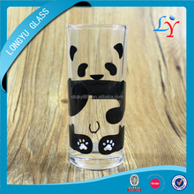 Panda cup tall and thin drinking glass tumbler cups fancy tumbler glass with round bottom