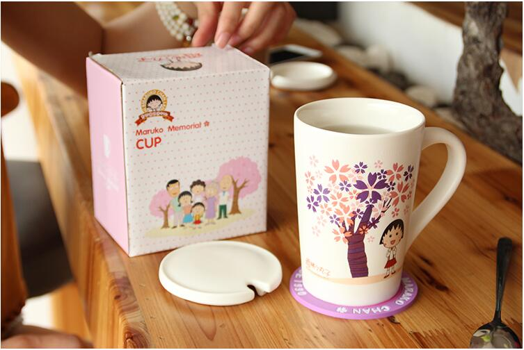 Promotional 11oz porcelain cute coffee mugs with spoon and lid