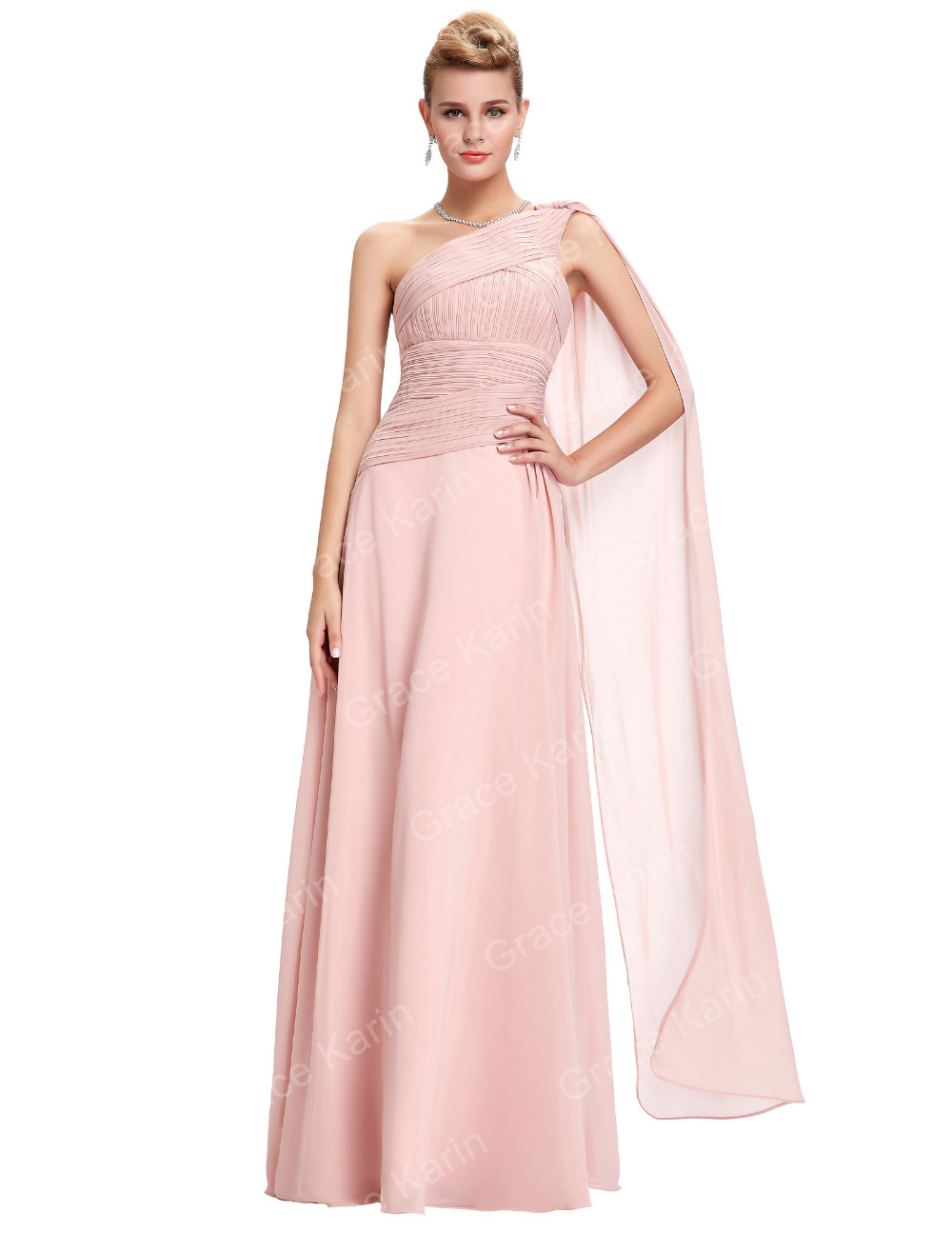 Grace Karin Sleeveless One Shoulder Chiffon Light Pink Weddings Bridesmaid Dresses GK000071-1