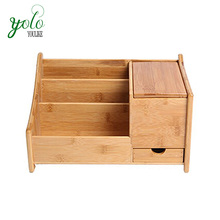 Bamboo TV Remote Control Holder Organizer With Drawer and Mirror