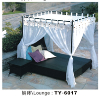 2015 Outdoor Wicker Double Lounge Sunbed with canopy