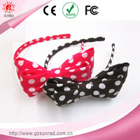 Fabric Dot Bowknot Headband , Plastic Bow Hair Band For Kids Hair Accessories