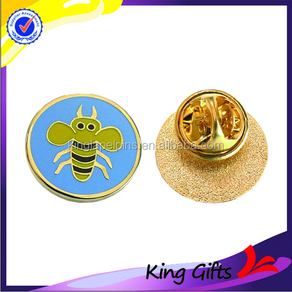Gold plating custom metal bee lapel pin