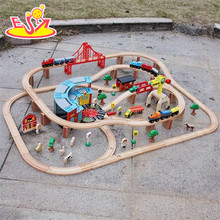 wholesale 142 pcs best quality wooden toy train track hottest design kids wooden toy train track W04C072