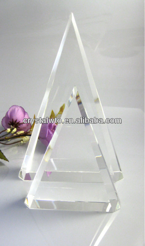 blank triangle crystal trophy
