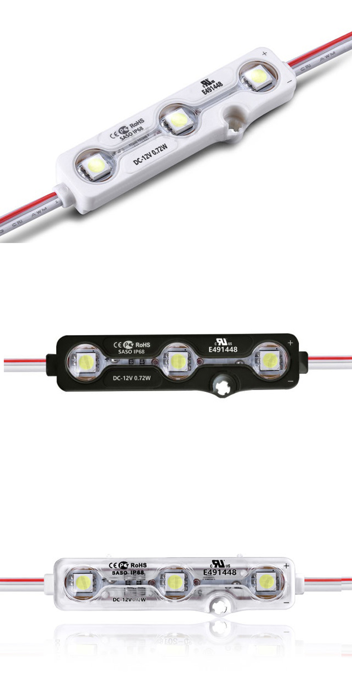3 chips 5050 smd led with lens IP68 waterproof injection led module