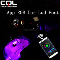 Car Accessories Interior Foot Light Led Lamp with Color Changing Control by RGB Phone App