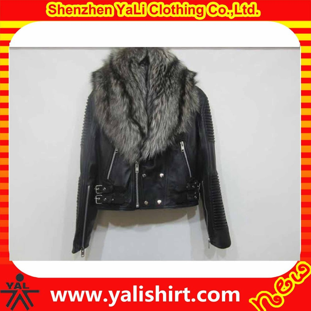 Hot sale custom high quality bulk plain cheap fur collar black winter leather jacket women