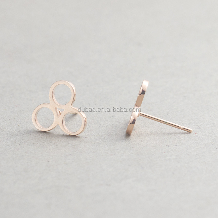 Stainless Steel Poker Club 3 Circles Stud Earrings for Women Men