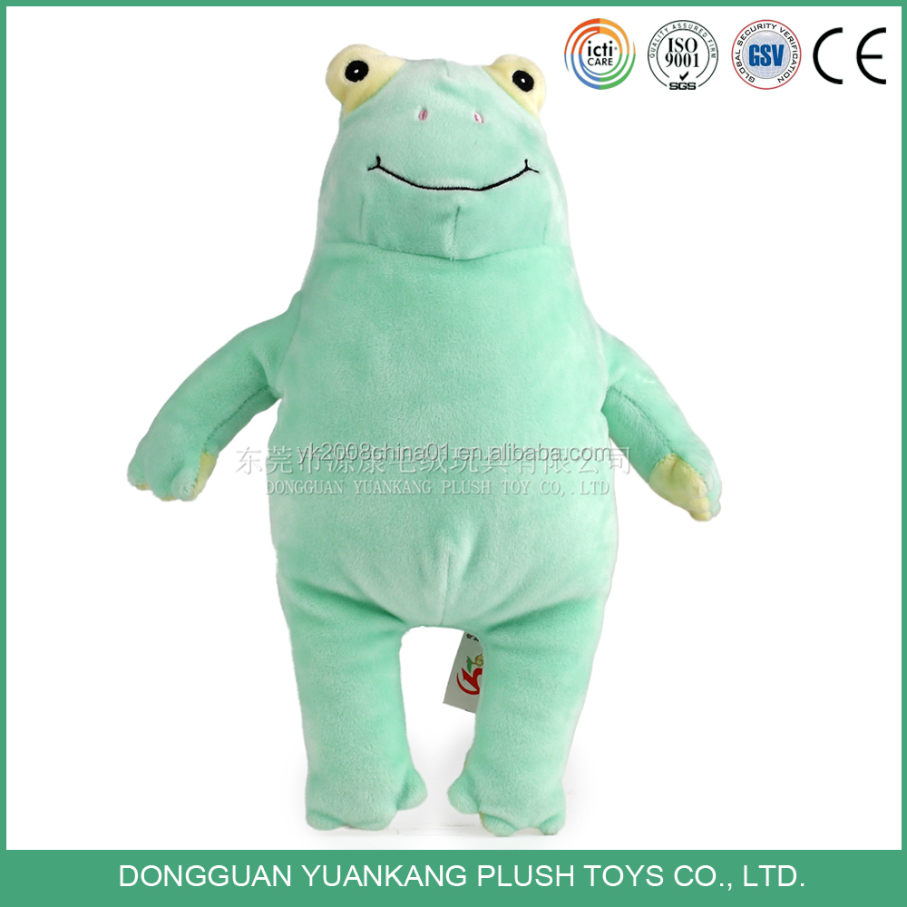 Cute kids stuffed green frog pet animal plush emoji pillow toy