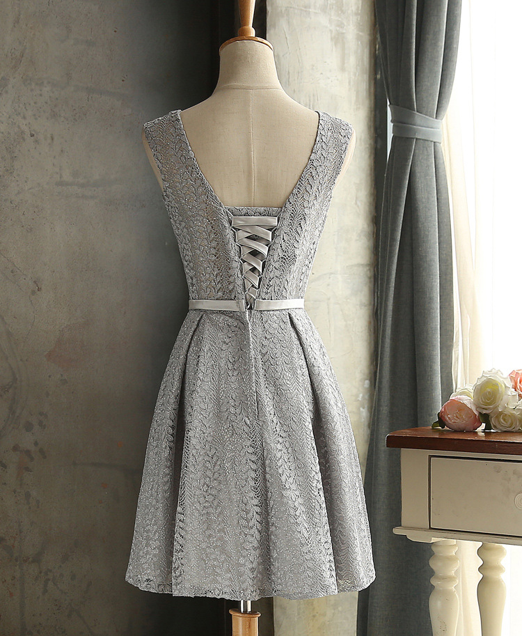 JS 24 Top Quality High Waist Wedding Gowns Lace Silver Gray Satin Bridesmaid Dress 008