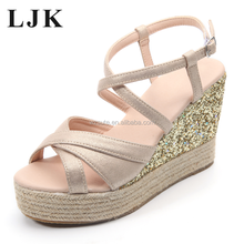 Newest High Quality Wholesale Style Lady's Hemp Rope Wedge Sandals
