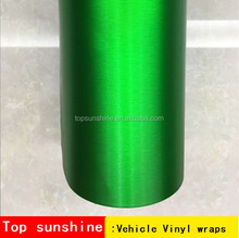 Wholesale low price small size avalible self-adhesive green aluminium metal brushed chrome green 3m car wrap vinyl film
