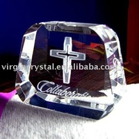 Optical Crystal 3D Cross Engraving Christian Crystal Award Gifts