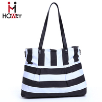 2016 Promotional wholesale canvas baby bags leather handle large tote baby adult diaper bag for mummy