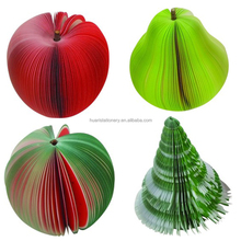 3D orange apple pear Fruit Memo pads sticky note,christmas tree notpads