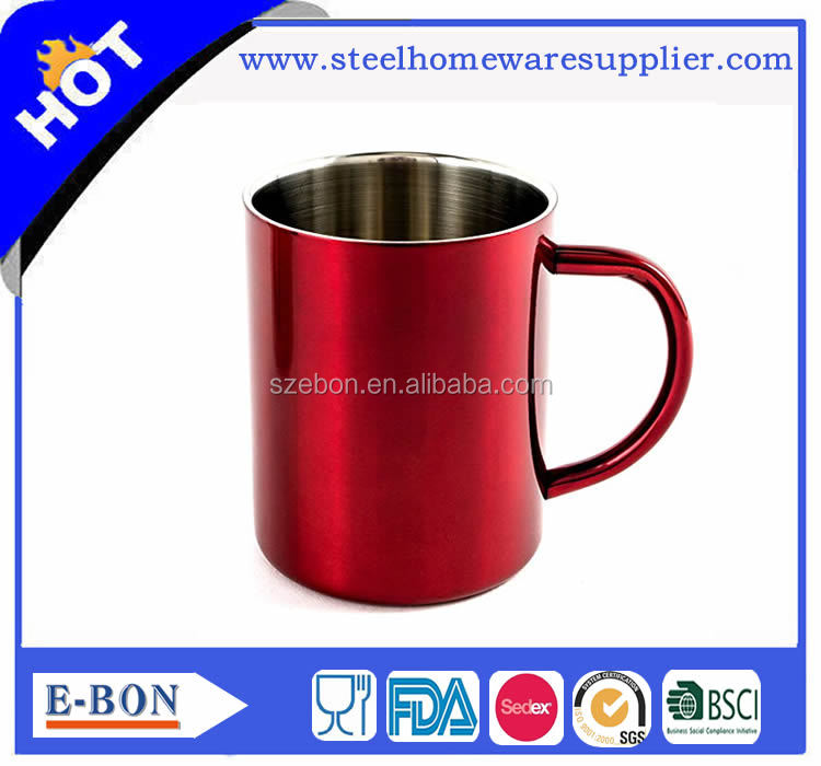 Red color painting Stainless Steel Double Wall Coffee Cups/Coffee Mugs