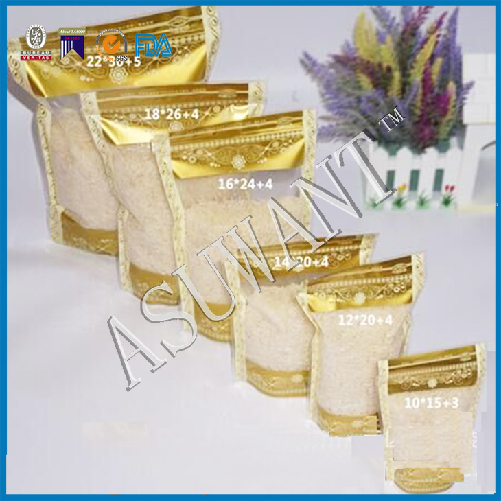 Plastic material PET/NY/PE printed gold color stand up clear plastic ziplock bag for rice /risheng plastic product factory make.