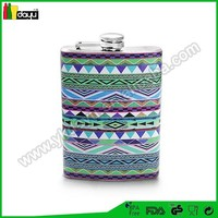Screw-on Top 8oz wrapped hip flask with silk logo - Aztec Mayan Native American Design