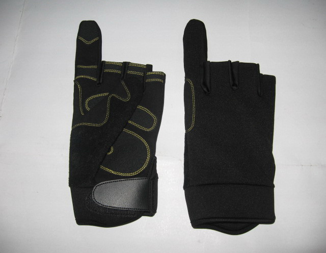Cut finger utility leather gloves with PU leather for non-slip