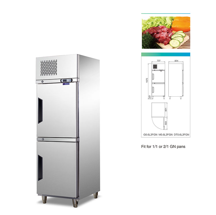 2 Doors Upright Refrigerated Cabinets with shelves