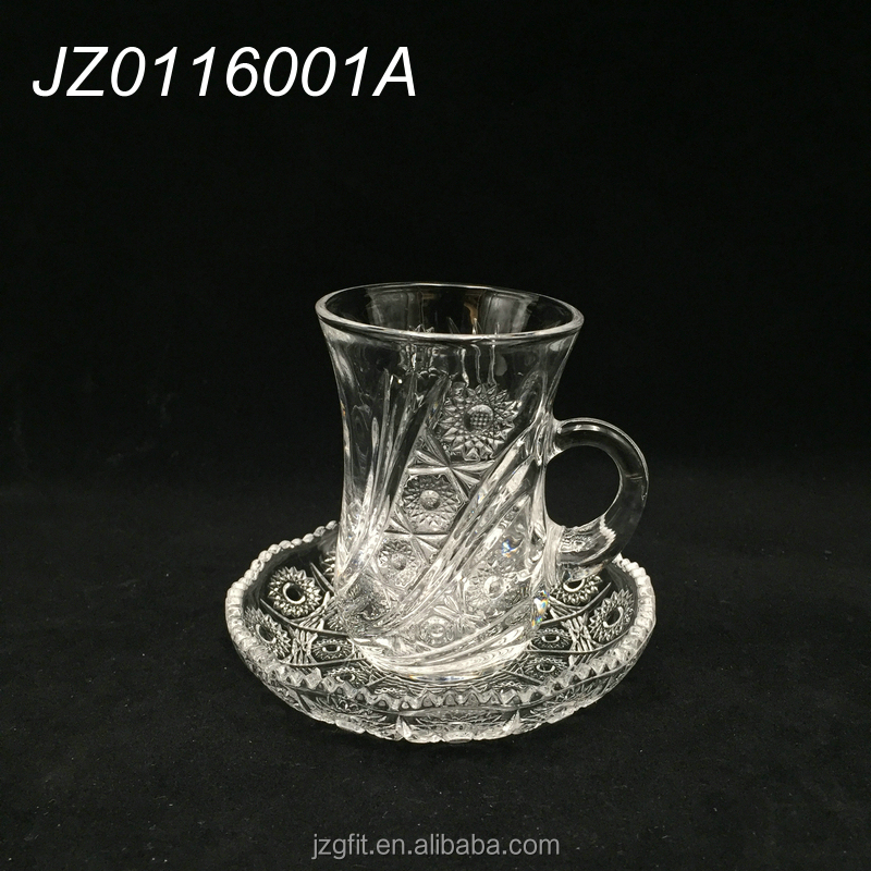 Wholesale elegant turkish glass tea cup, glass coffee cup&saucer, turkish glass drinking set